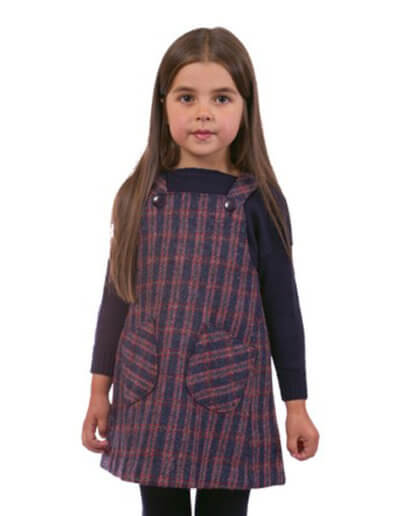 Children's A' line pinafore dress in Harris Tweed lined with 100% polyester (antistatic). A shorter length pinafore finishing above the knee. Sizes: Ages 4,6,8, and 10 years. Prices: From £38.00 (Style C).
