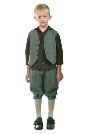 Childrens harris tweed waistcoat breeches
